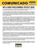 Comunicado de Primero Justicia ante la grave crisis económic...