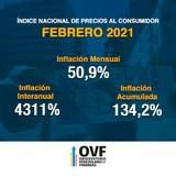 Venezuela sigue en hiperinflación, en el mes de febrero la i...