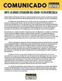 Comunicado de Primero Justicia ante repunte de casos de Covi...